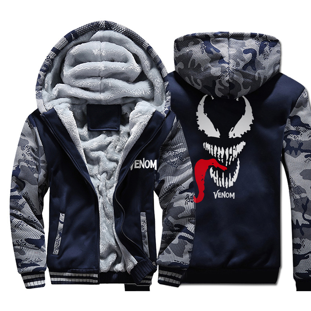 Movie Venom Camouflage Hoodies Men 2019 Winter Thick Camo Jackets Hip Hop Sweatshirts Men's Warm Fleece Coat Plus Size M-4XL