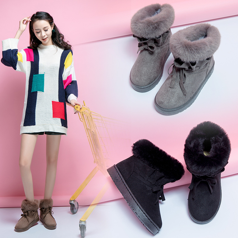 2018 Winter Women Snow Boots Ankle Fur Boots Flat Fashion Shoes Woman Plush Slip-On Turned-over Edge Luxury Brand Ladies Shoes
