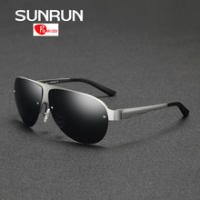 SUNRUN Aluminum Magnesium Polarized Sunglasses Men Brand Designer Semi-Rimless Sun Glasses Fashion Driving Glasses 8600