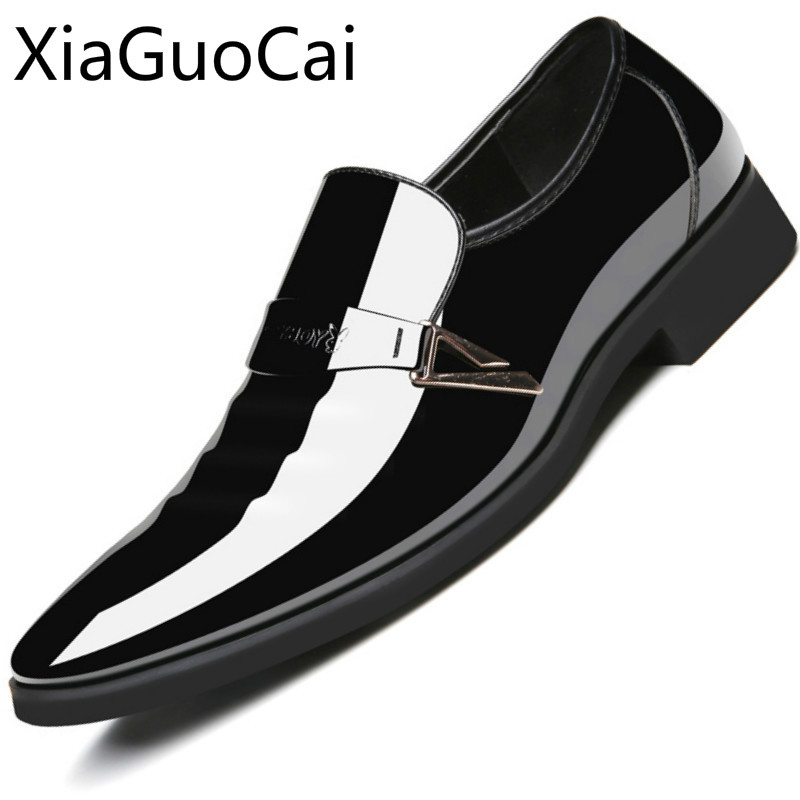 Formal Shoes Diplomatic Fashion Summer Mens Business Dress Shoes Bright Patent Leather Casual Formal Shoes Pointed Toe Feet Waterproof Slip On Shoes Shoes