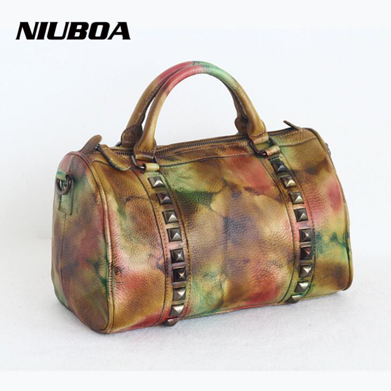 NIUBOA Luxury Women Genuine Leather Bag Vintage Cowhide Messenger Bags Handbags Patchwork Brush Female Tote Shoulder Bags niuboa bag female women s 100