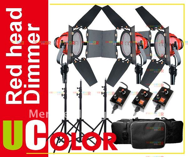 3 X 800W Studio Video Red head Light with Dimmer Lighting Kit + Carry Case + Spare Bulb ashanks 3kits 800w dimmer switch studio video red head light kit bulb carry bag for video film light