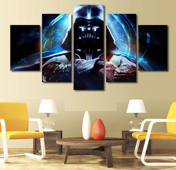 HD Printed Star Wars Movie Poster (No Frame) 5 Pcs Wall Pictures For Living Room Home Decor Canvas Painting Art Modular Pictures no frame canvas