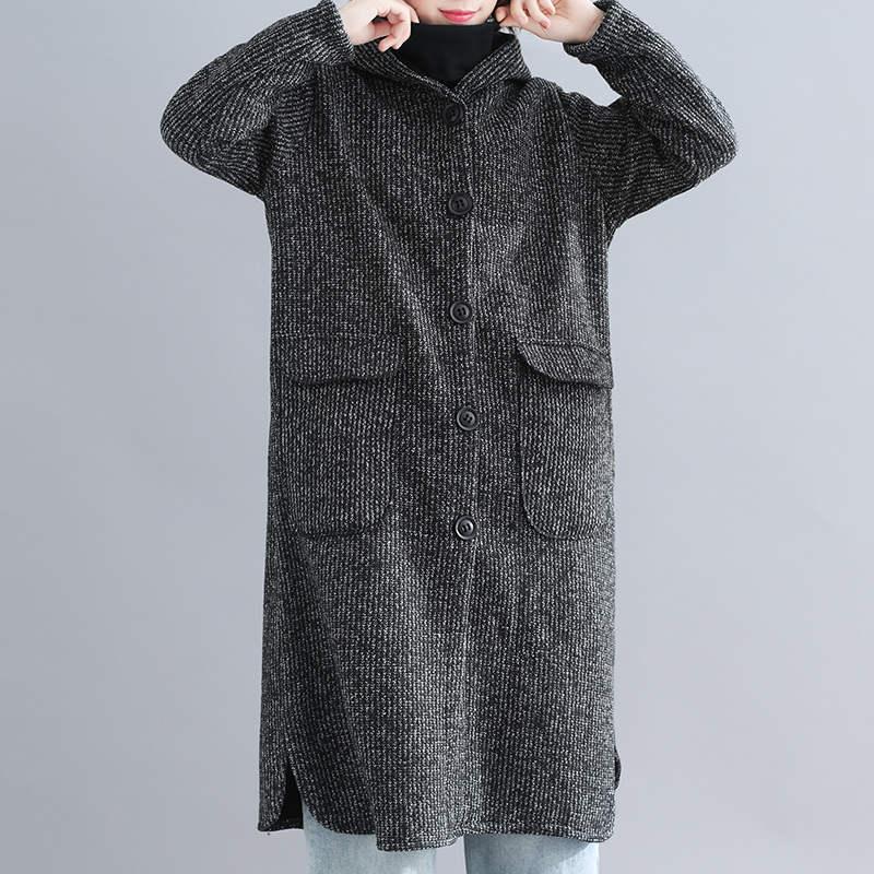 Gray De Capuchon Automne Coupe Vestes 2018 Laine breasted X157 Manteaux Longue À Femme Hiver Mode Occasionnel Femmes vent Single pIwwx8UAq