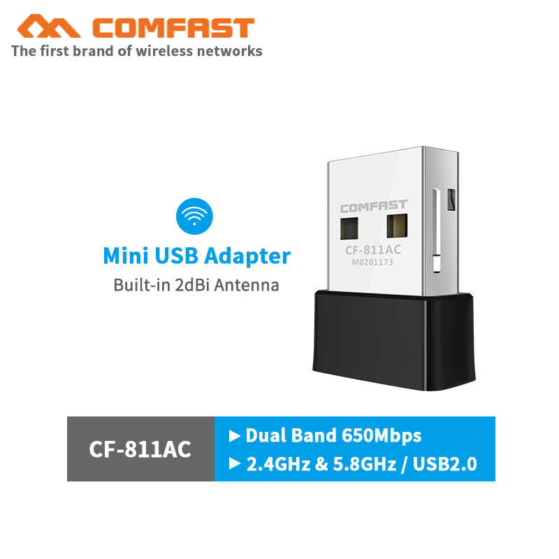 COMFAST CF-811AC 802.11ac/b/g/n Mini Adapter USB WIFI PC Laptop adapter wifi 650M usb ethernet Adapter bezprzewodowy dla systemu Windows systemu MacOS