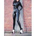 Mujeres Negro sexy latex catsuit adultos traje de goma w/o corsé más tamaño Mono Personalizar el Servicio