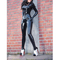 Women Black sexy latex catsuit for adult rubber bodysuit w/o corset plus size Jumpsuit Customize Service