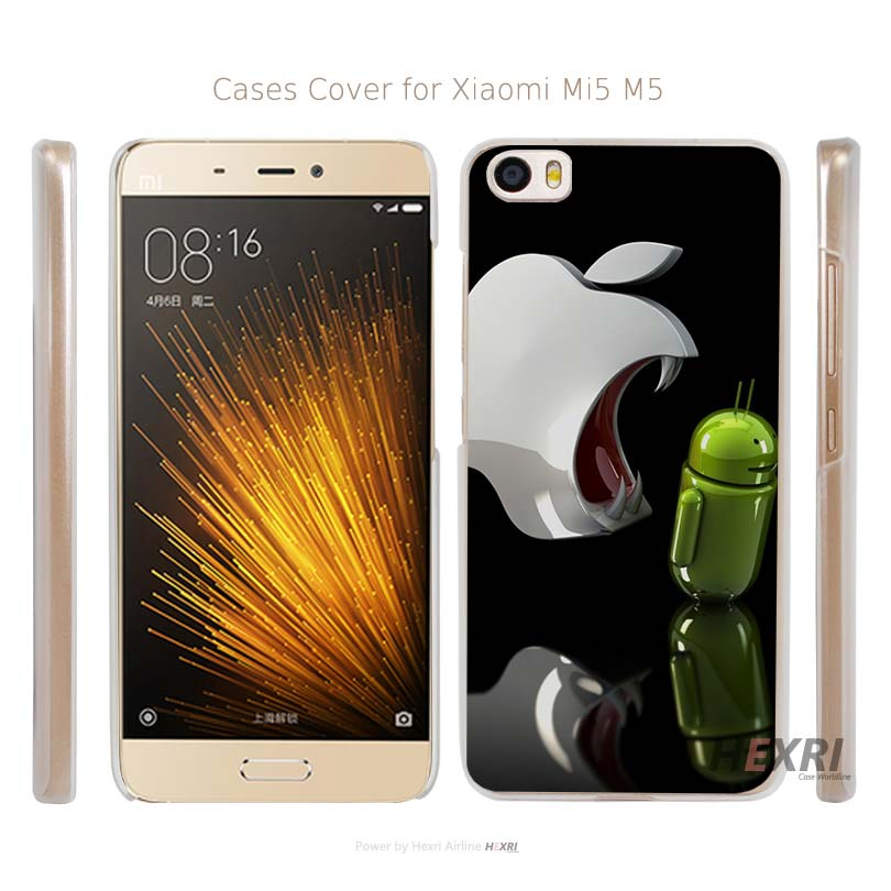 for Apple Against Android Transparent Hard Mobile Cell Phone Case Cover for Xiaomi Mi 4 5 Redmi Note 3 4 Pro Prime