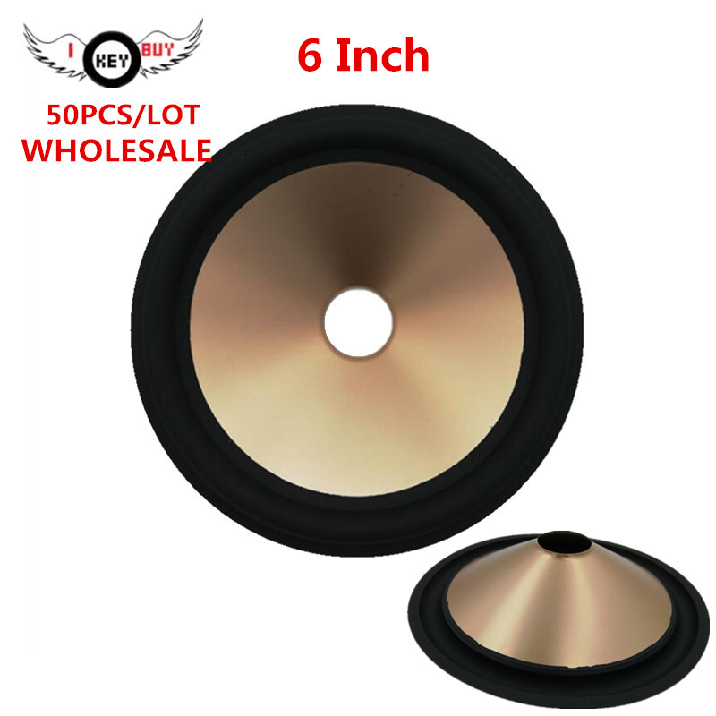 50pcs/lot  5 inch 6 Inch Speaker Paper Cone Rubber Edge Plastic Cones Basin Accessories Thickening 27 Core Yellow Pink Wholesale
