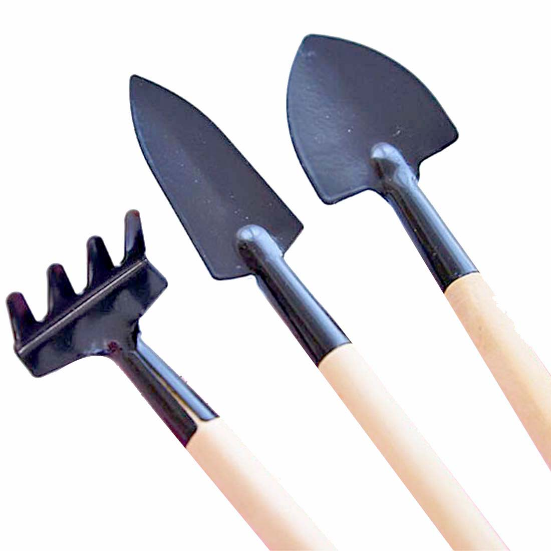 Uxcell 3 In 1 Set Hollow Out Shaped Wooden Handgrip Black Metal Rake Digging Trowel Plants Cultivator Garden Horticulture Tools Garden Tools