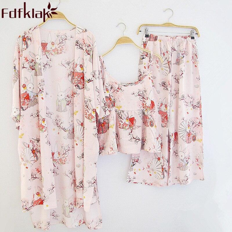 Fdfklak Spring Summer 3 Pieces Cotton Pyjamas Sleepwear Women Set Pijamas For Woman Sexy Nightwear Pyjama Femme Pajamas Q962