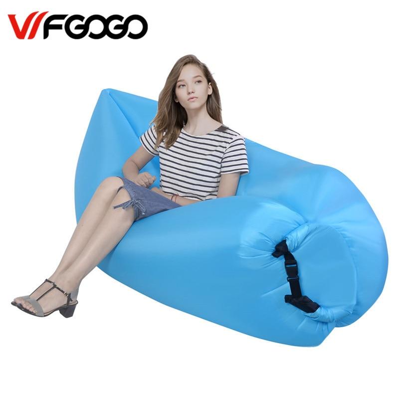WFGOGO Inflatable air sofa Lounger Fast Garden Sofas Outdoor Air Sleeping bag Couch Portable Room Sofas for Summer Camping Beach 6 5ft diameter inflatable beach ball helium balloon for advertisement