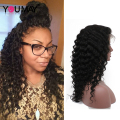 360 Lace Frontal Wig 150% Density Deep Curly Wave Full Lace Human Hair Wigs With Baby Hair 7A Malaysian 360 Full Lace Front Wig