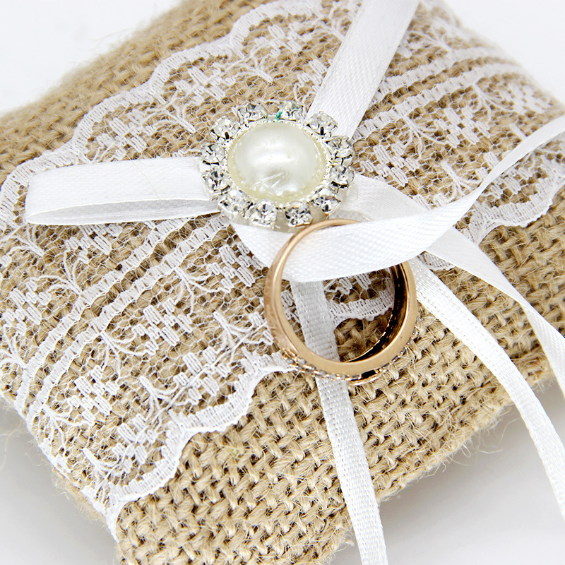 Us 133 30 Off1pcs Vintage Rustic Wedding Ring Pillow For Wedding Decoration Linen Lace Rhinestones Pearl Decor With Ribbons In Party Diy