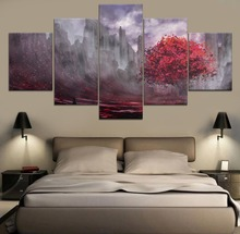 Anime Landscape HD Print Decor 5 Piece Painting Canvas Modern Wall Art Home Living Room Artwork