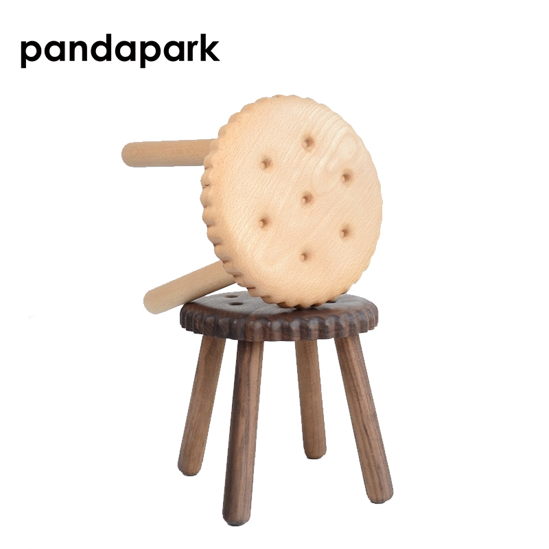 Pandapark Solid Creative Wood Cookie Shape Stool Black Walnut Child Beech Wooden Fun Cartoon Circular Paint-free Stools PPM042