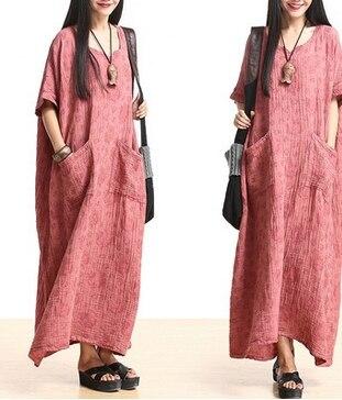 Новые летние Для женщин Вышивка лоскутное цельный платье v-образным вырезом свободные свободное платье плиссированные белье платья халат 523 - Цвет: Красный