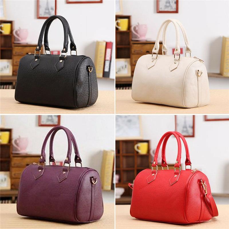 4 Colors Women Solid Leather Handbag Tote Purse Shoulder Bag Messenger Satchel