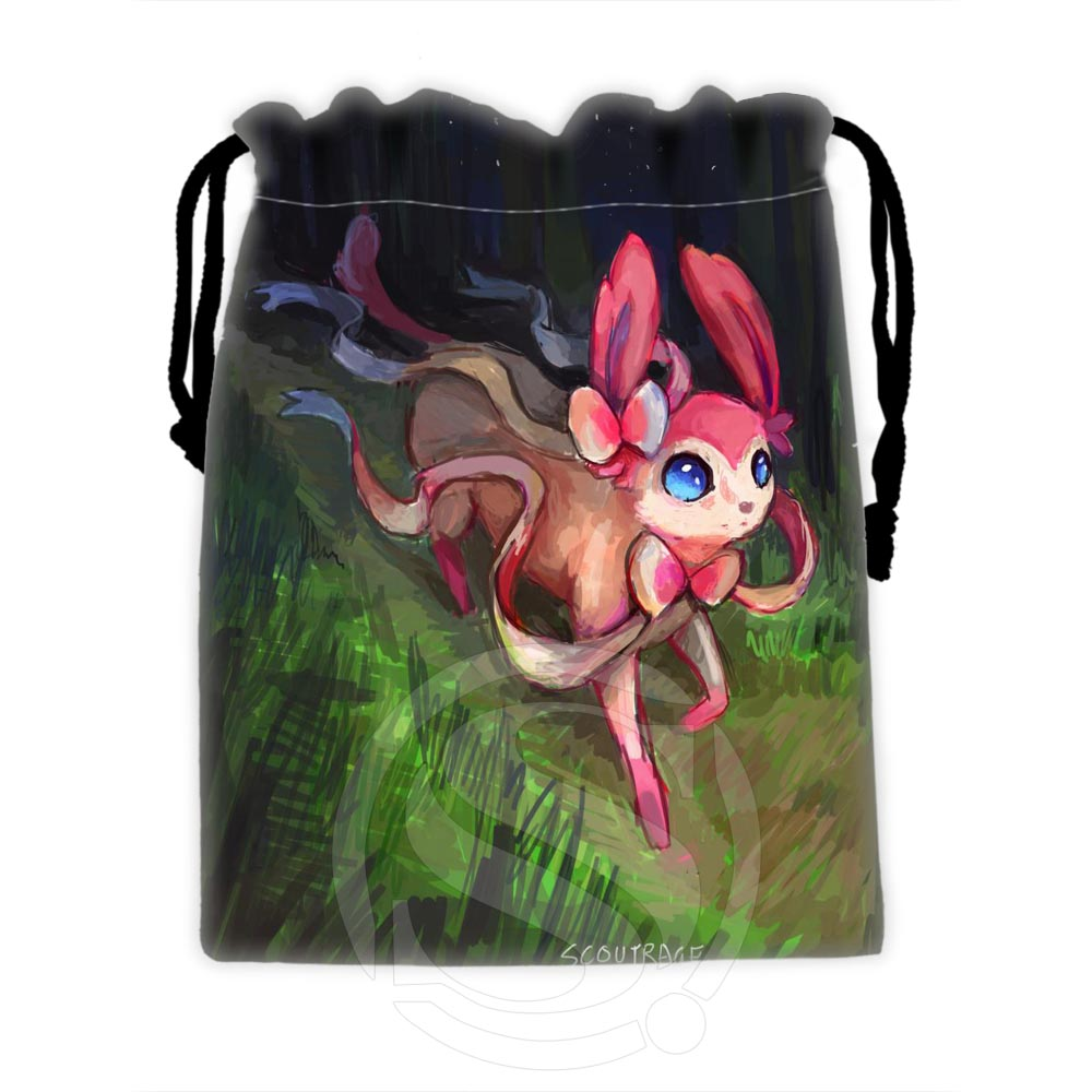 H-P595 Custom Eevee #33 Drawstring Bags For Mobile Phone Tablet PC Packaging Gift Bags18X22cm SQ00729-@H0595