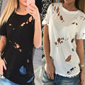 New 2017 Summer Fashion Ripped Holes Women T-shirt Ladies O-neck Short Sleeve Hollow Out Sexy Casual Tee Shirts Blusas 5 Color