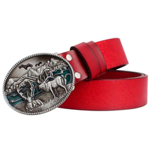 Fashion men leather belt cowboy elk patt