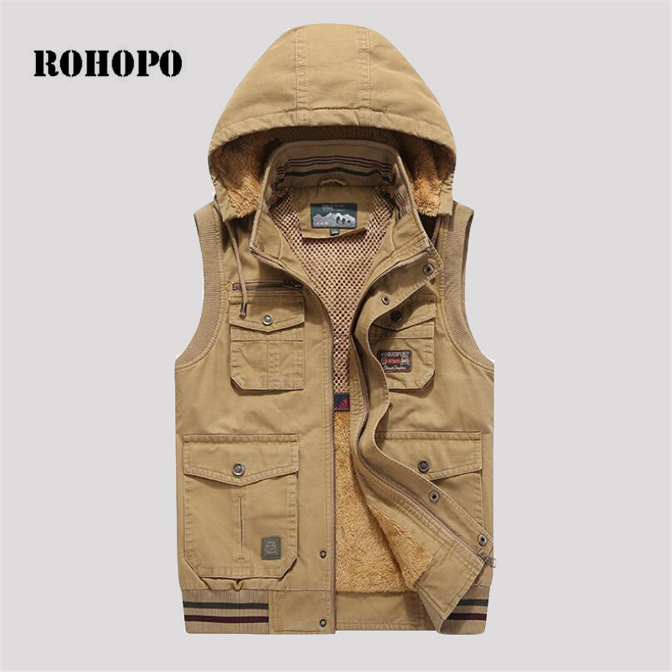Dedicated Rohopo Waistcoat Man Winter 9xl 8xl 7xl 6xl Oversize Cotton Vest Mendetachable Hooded Cashmere Inner Winter Pockets Waistcoat Products Are Sold Without Limitations