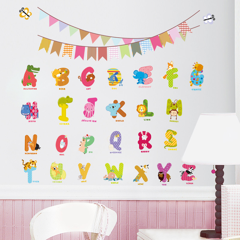 Cute animals zoo diy wall sticker for kids room decorative baby children bedroom nursery birthday party decal 26 letters study in wall stickers from home