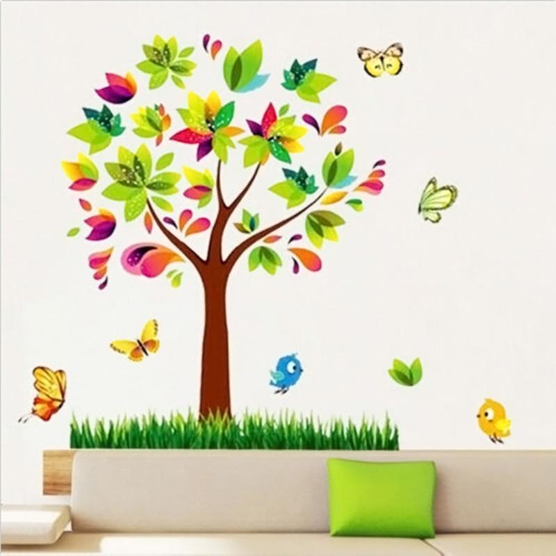 Online get cheap nursery stickers trees for Diy tree mural nursery