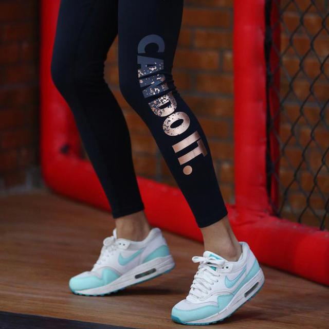 BerylBella Women Leggings Fitness Work Out Leggins 2017 Summer Gold High Waist Elastic Pants Compression Women Legging Trousers