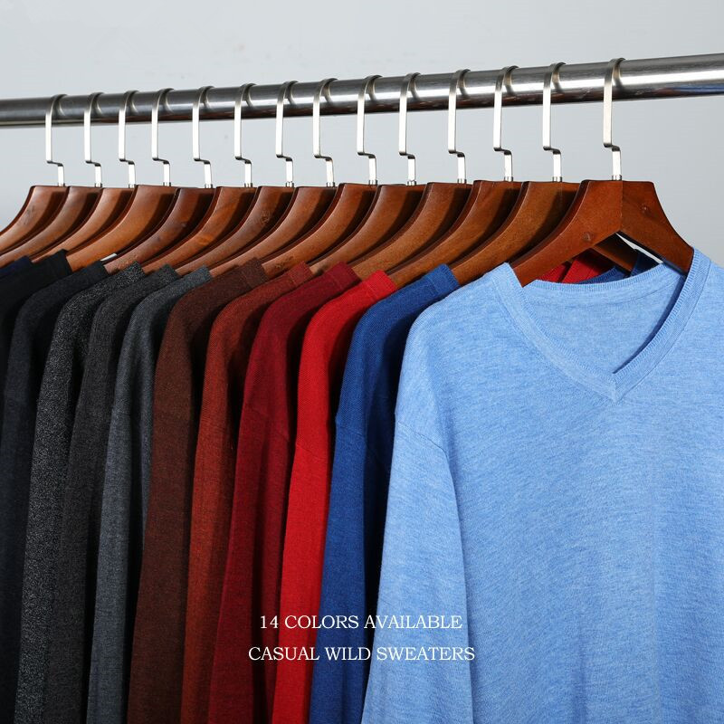14Color Knitted Pullover 2019 Spring Autumn New Men Business Cashmere Sweater Men's Casual V-Collar Sweaters Brand Clothes