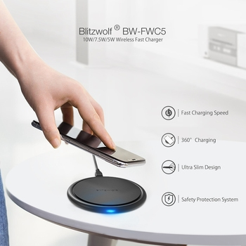 BlitzWolf Qi 10W 7.5W 5W Fast Charging Wireless Universal Charger 9V For IPhone 8 Plus X XS MAX For Samsung Note 9 S9 For Huawei