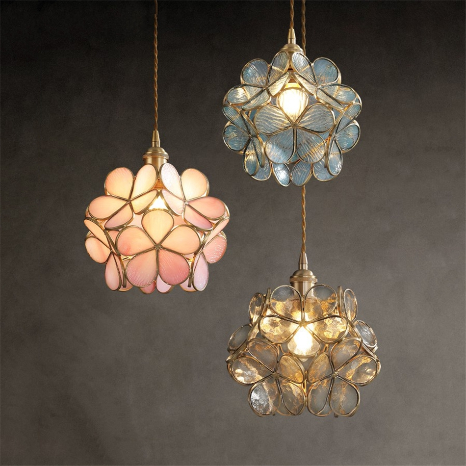 Modern Flower Glass Pendant Light Nordic Brass Pendant Lighting Fixture Home Indoor Dinning Room/Corridor Hanging Light/lamp E27