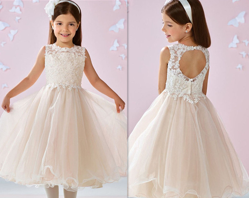 2017 New White Flower Girls Dresses Lace Beaded Backless Tea-length Sleeveless Birthday Gown First Communion Dress Free Shipping 500g 1lb premium jasmine flower anji white tea anji bai cha tea a3cla02m free shipping