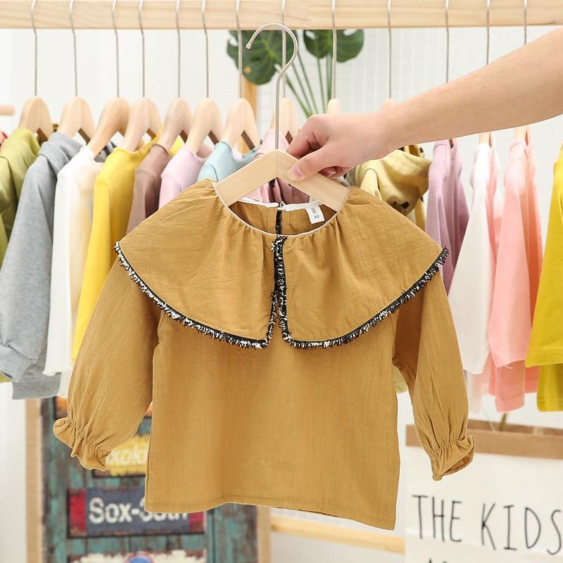 T-Shirt Girl Ruffled-Collar Long-Sleeve Cotton-Spring Fashion New Solid Comfortable