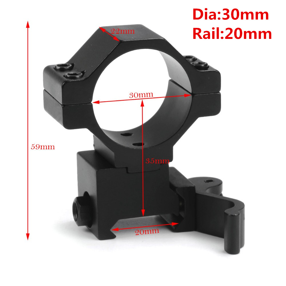 "MIZUGIWA 30mm / 25.4mm 1"" Ring  Quick Release Scope Mount Adapter 20mm Rail Weaver Picatinny Flashlight Hunting Caza"