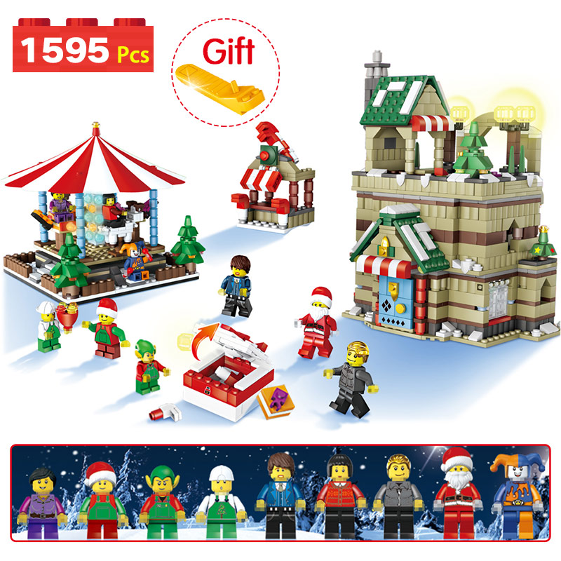 Christmas Theme Creator Blocks Winter Snow House Compatible LegoINGLYS Santa Claus Birth Tree Sets Bricks Toys For Children christmas santa house face number watch page 5