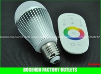 6w Led RGB Bulb Light E27 With 2.4G Touch Screen RGB Remote Controller
