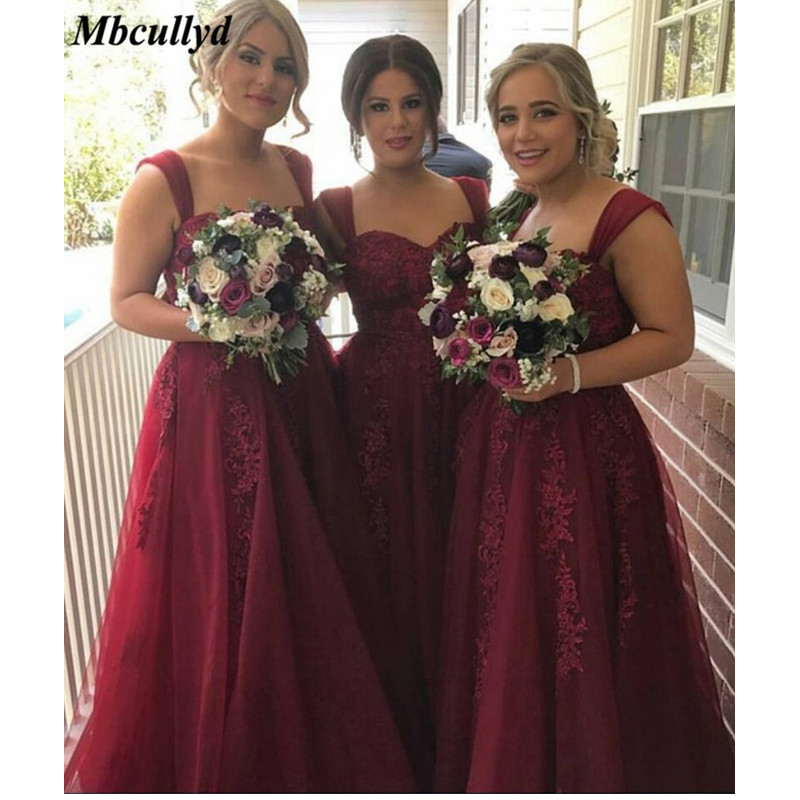 Burgundy Long Floor Length   Bridesmaid     Dresses   With Ruffles 2019 A-line Applique Lace Corset Back Women Party Prom   Dress   Gown