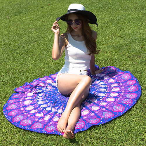 Large Round Chiffon Shawl Tapestry Peacock Feather Print Gypsy Beach Throw Towel