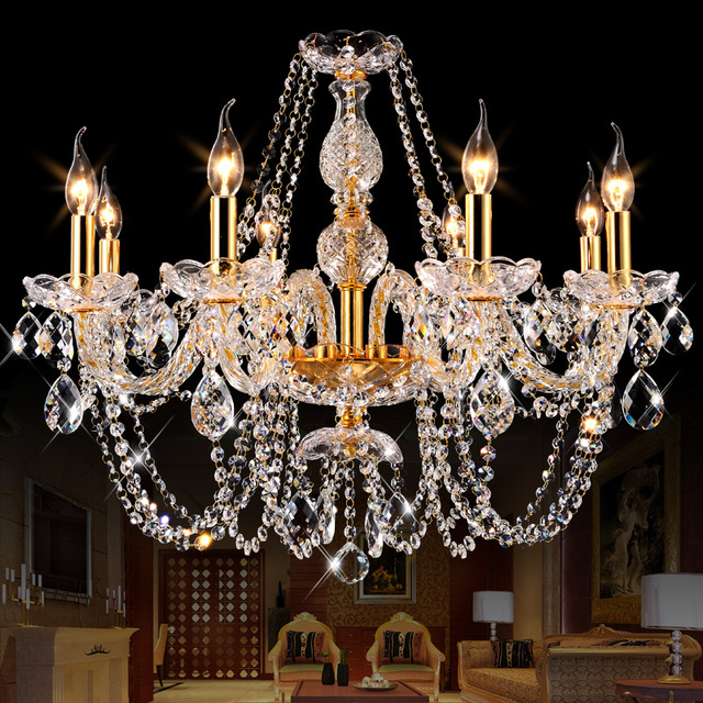 Modern Crystal Chandelier LED Hanging Lighting European Style Glass Chandeliers Light for Living Dining Room Restaurant Decor
