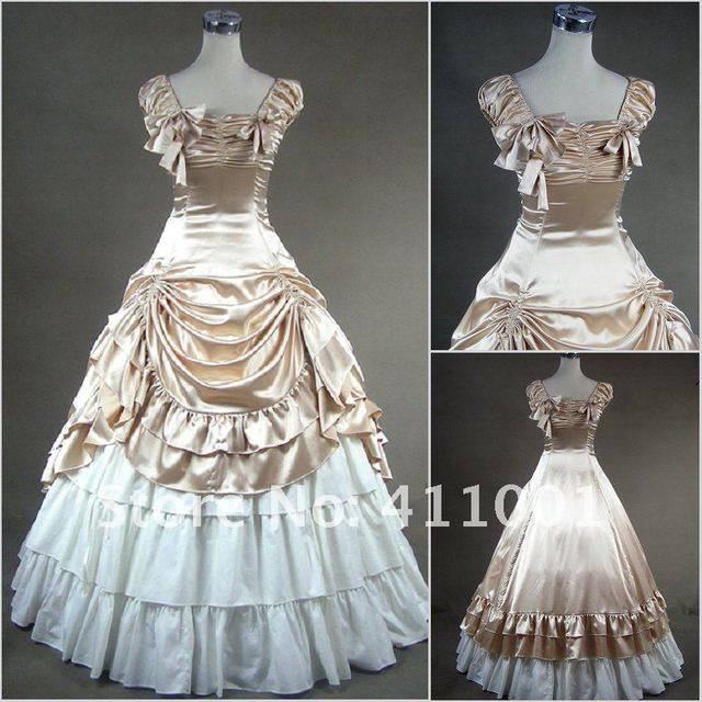 Champagne Short Sleeves Ruched  Victorian Traditional Southern Belle Princess Ball Gown Gothic Cosplay made to measure Free P&P