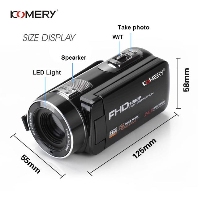 KOMERY Digital Video Camera Full HD 1080P Portable Camcorders 24 MP 16X Digital Zoom 3.0 2