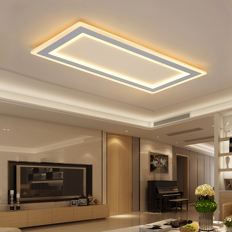 Surface mounted Rectangle Modern led ceiling chandelier living room dining room bedroom Ultra-thin ceiling chandelier fixtures
