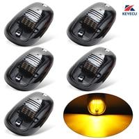 KEYECU Set Of 5 12V Black Smoked Lens Amber Cab Roof Top Marker Running Clearance Light