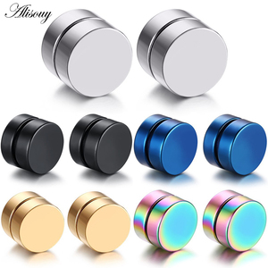 Alisouy 2pcs Punk Mens Strong Magnet Magnetic Ear Stud Set Non Piercing Earrings Fake Earrings Gift for Boyfriend Lover Jewelry(China)