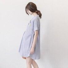 49adbb9f7bb97 Tatlı Tarzı Hamile Annelik Şerit Kısa Kollu Elbise Analık Yaz Strech  Nedensel T-shirt Elbise Gebelik Kadın Giysi