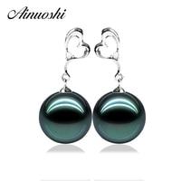 AINUOSHI Luxury Women 925 Sterling Silver Earring Heart Shaped Love Earrings Natural Tahiti Pearl 9mm Round Pearl Drop Earring