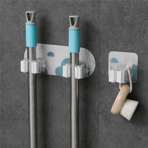Image 1 - Креативная настенная стойка для хранения в душевой комнате, органайзер для швабры, держатель, щетка для метлы, присоска на стене, вешалка для хранения, кухонная вешалка