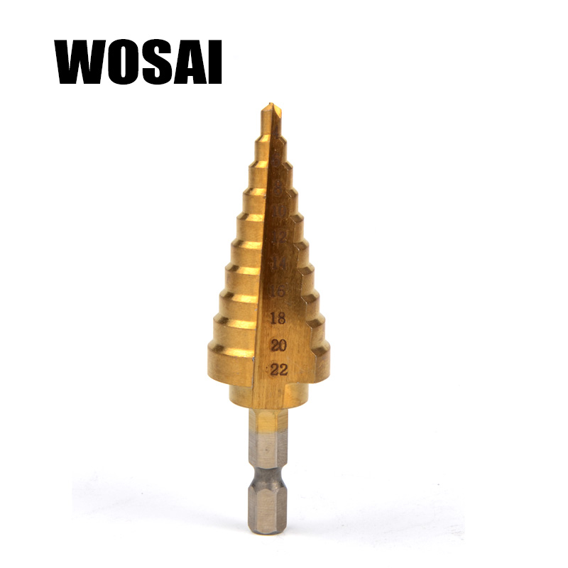 WOSA Hss Titanium Step Drill Bit Step Cono Herramientas de corte Acero Carpintería Metal Juego de perforación de metal
