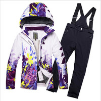 2018 Fleeced Girls Ski Suit Waterproof Kids Ski Jacket Ski Pants Thermal Boys Winter Skiing Snowboarding Clothing 30 degrees